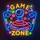 Retro game neon sign. Video games night light symbol, glowing gamer poster, gaming club banner. Vector retro neon flyer royalty free illustration