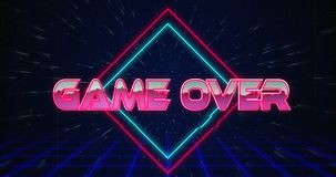 Retro Game Over Text Glitching Over Blue And Red Triangles 4k Stock Footage Video Of Entertainment 8bit 153571196