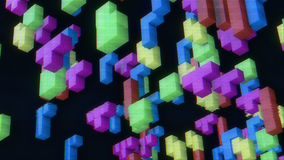 Retro game tetris. 3d blocks from retro game tetris on a faded screen. 3d rendering Royalty Free Stock Photos