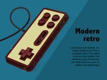 Retro- gamepad in der alten Plakatart Lizenzfreie Stockfotos
