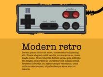 Retro- gamepad in der alten Plakatart Lizenzfreie Stockfotografie