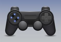 Retro gamepad and joystick icon on blue background. Control console for video game. Vector illustration Stock Photos
