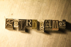 Retro games - Horizontal metal letterpress lettering sign Stock Photo