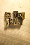 Retro games - Metal letterpress lettering sign Stock Photography