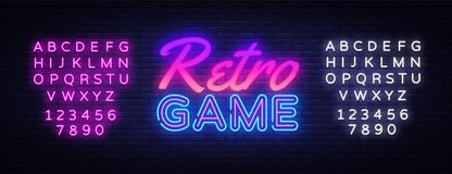 Retro Games neon sign vector. Gaming Design template neon sign, light banner, neon signboard, nightly bright advertising royalty free illustration