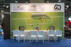Retro games stand at Games Week 2014 in Milan, Italy Royalty Free Stock Images