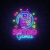 Retro Games Vector Logo. Retro geek gaming gamepad in hand neon sign, modern trend design, vivid vector illustration. Promotional character games, Vintage sign vector illustration
