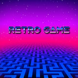 Retro gaming hipster neon landscape with labyrinth royalty free illustration