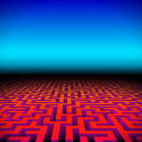 Retro gaming hipster neon landscape with labyrinth Royalty Free Stock Photography
