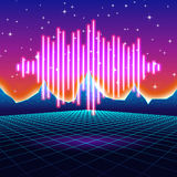 Retro gaming neon background with shiny music wave Royalty Free Stock Photos
