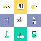 Retro gaming pictogram icons set. Flat line icons of popular retro gaming from 80s and 90s, classic game play elements, oldschool game controller for video Stock Photo