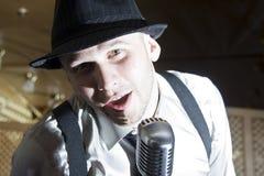 Retro gangster singer Stock Photos