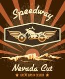 Retro gara motociclistica su pista Nevada Cut Graphic Design royalty illustrazione gratis