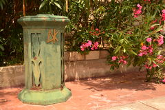Retro Garbage Can in Greece Royalty Free Stock Photos