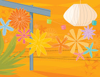 Retro Garden Party. Retro-inspired, colorful, stylized outdoor garden party with arbor and flowers stock illustration