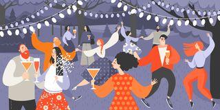 Retro garden party with people dancing and drinking wine. Cartoon characters having fun in the park at night. Vector illustration of cute dancing couples vector illustration