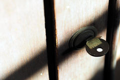 Retro garderoba klucza kędziorek z cieniem Obrazy Royalty Free