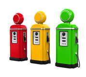 Retro Gas Pumps. Isolated on white background. 3D render Royalty Free Stock Photos