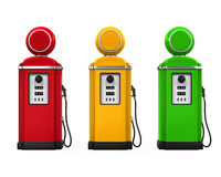 Retro Gas Pumps. Isolated on white background. 3D render Stock Photo