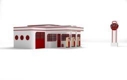 Retro gas station. Art deco retro gas station Stock Illustration