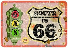 Retro gas station sign. Route 66 gas station sign,retro style, vector eps 10 stock illustration