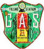Retro gas station sign Stock Photo