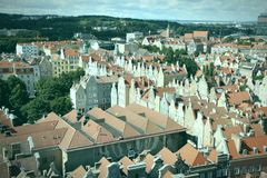 Retro Gdansk. Poland - Gdansk city (also know nas Danzig) in Pomerania region. Old town aerial view. Cross processed color tone - retro filtered style Royalty Free Stock Photography