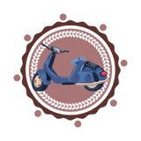 Retro Geïsoleerde Pictogram Uitstekend Logo Design van Sccoter Motorfiets Stock Foto