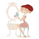 Retro geïsoleerder beeldverhaalvrouw met parfum Stock Fotografie
