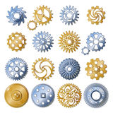 Retro Gear Elements Set. Sixteen isolated old style gear gold and silver mechanisms realistic symbols set on blank background vector Stock Photo