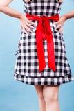 Retro gecontroleerde kleding met rode boog Royalty-vrije Stock Afbeeldingen