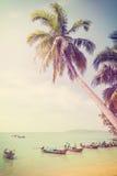 Retro- gefiltertes Bild der Weinlese des tropischen Strandes Stockfotografie
