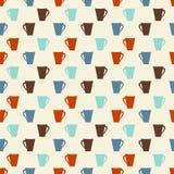 Retro gekleurde koffie vormt naadloos patroon tot een kom Stock Foto's