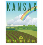 Retro geïllustreerde reisaffiche voor staat van Kansas, Verenigde Staten Stock Foto's
