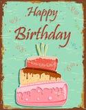 Retro Gelukkige Verjaardag Stock Foto