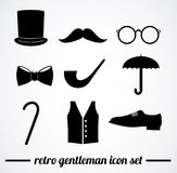 Retro gentleman accessories illustration. Stock Photos