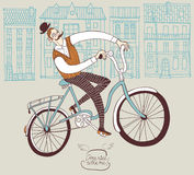 Retro gentleman on a bicycle. Old-fashioned hand drawn man on a bicycle stock illustration