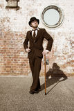Retro Gentleman In Bowler Hat Stock Photos
