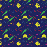 Retro gentleman elements - bowler, moustache, tobacco pipe monocle, cane and umbrella seamless pattern Stock Photos
