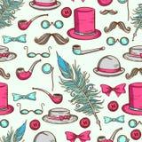 Retro gentleman elements pattern Stock Photo