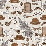 Retro gentleman elements pattern Stock Images