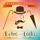 Retro gentleman elements set - bowler, moustache, tobacco pipe monocle, cane and umbrella Royalty Free Stock Images