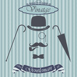 Retro gentleman elements set - bowler, moustache, tobacco pipe monocle, cane and umbrella, on hipster background. Vintage sign des Royalty Free Stock Photos