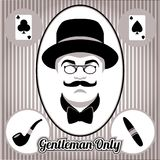 Retro gentleman face and accessories,  Royalty Free Stock Images