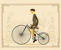 Retro gentleman with mustaches on a bicycle on old city backgrou. Nd. Man riding bike Vector. eps 10 Stock Images