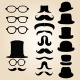 Retro gentleman's set consists of a hat, glasses and mustache Royalty Free Stock Photography