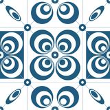 Retro geometric abstract background. Blue geometric shapes composition on white background stock illustration