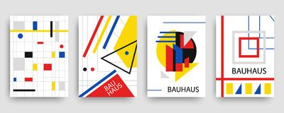 Retro geometric bauhaus, memphis covers templates set. Modern hipster brochures, banners, posters design. Vector illustration in yellow, blue, red and black Royalty Free Stock Photo