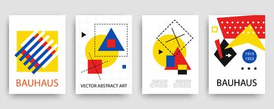Retro geometric bauhaus, memphis covers templates set. Modern hipster brochures, banners, posters design. Vector illustration in yellow, blue, red and black Stock Photos
