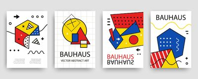 Retro geometric bauhaus, memphis covers templates set. Modern hipster brochures, banners, posters design. Vector illustration in yellow, blue, red and black Royalty Free Stock Photos